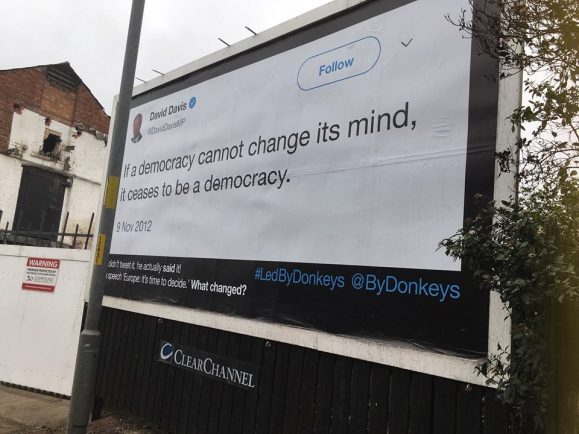 Anti-Brexit billboard appears as city groups attend London